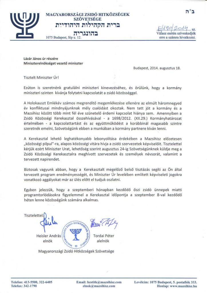 Levél Lázár János miniszter úr részére