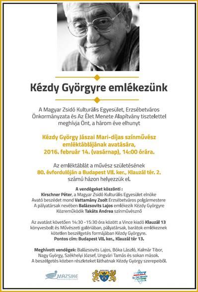 Kézdy György emléktábla avatás