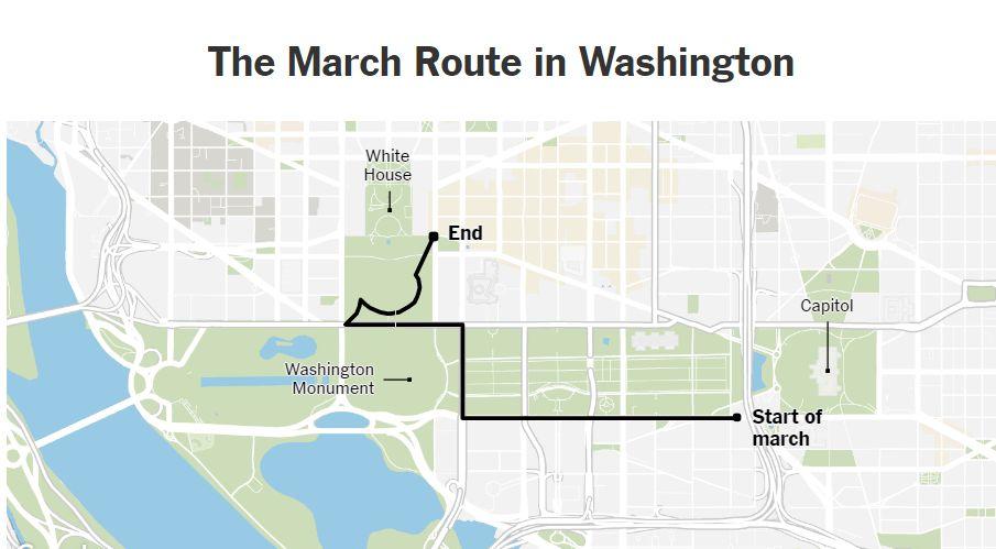 A washingtoni tüntetésen a menet a Kapitólium közeléből indult el, s a Fehér Ház közelében ért véget
